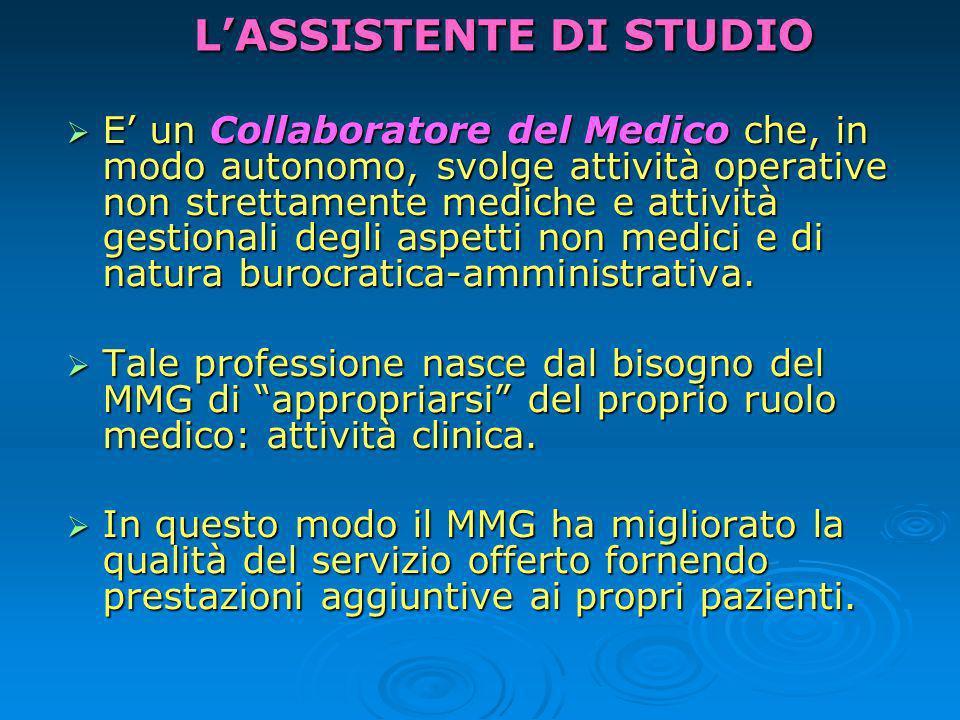 TEAM DI LAVORO: Medico e Assistente Obiettivo comune: migliorare la qualità di vita dei pazienti, salvaguardando e promuovendo la loro salute.