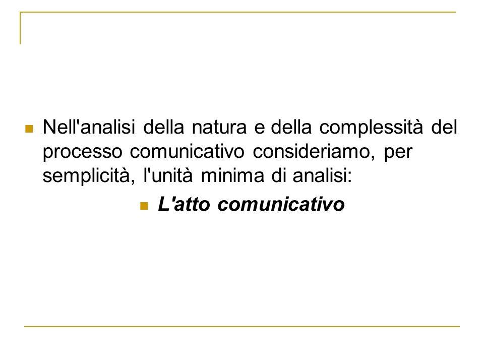 Nell'analisi della natura e della complessità del processo comunicativo consideriamo, per semplicità, l'unità minima di analisi: L'atto comunicativo