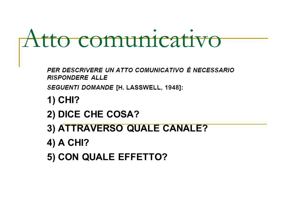 Atto comunicativo PER DESCRIVERE UN ATTO COMUNICATIVO È NECESSARIO RISPONDERE ALLE SEGUENTI DOMANDE [H. LASSWELL, 1948]: 1) CHI? 2) DICE CHE COSA? 3)