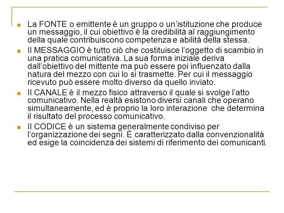 La FONTE o emittente è un gruppo o unistituzione che produce un messaggio, il cui obiettivo è la credibilità al raggiungimento della quale contribuisc