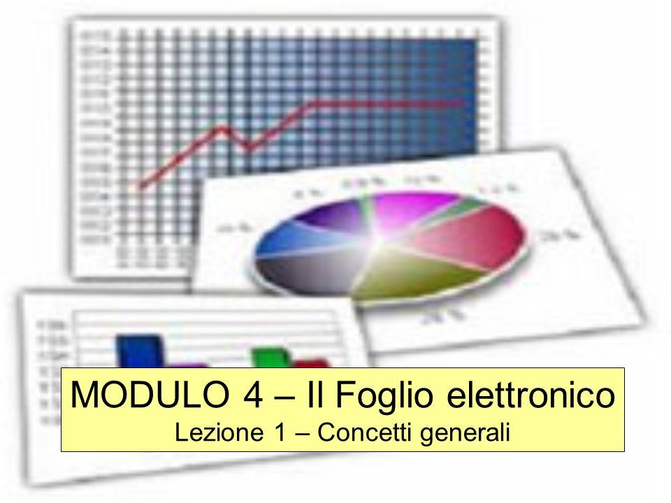 MODULO 4 – Il Foglio elettronico Lezione 1 – Concetti generali