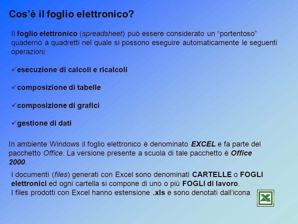 I documenti (files) generati con Excel sono denominati CARTELLE o FOGLI elettronici ed ogni cartella si compone di uno o più FOGLI di lavoro.