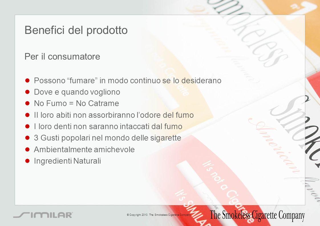 Benefici del prodotto Per il consumatore Possono fumare in modo continuo se lo desiderano Dove e quando vogliono No Fumo = No Catrame II loro abiti no