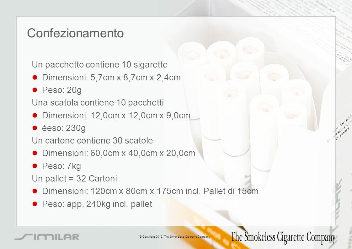 Confezionamento Un pacchetto contiene 10 sigarette Dimensioni: 5,7cm x 8,7cm x 2,4cm Peso: 20g Una scatola contiene 10 pacchetti Dimensioni: 12,0cm x
