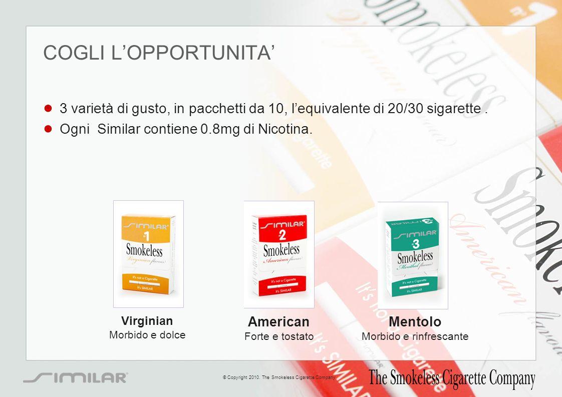 COGLI LOPPORTUNITA 3 varietà di gusto, in pacchetti da 10, lequivalente di 20/30 sigarette. Ogni Similar contiene 0.8mg di Nicotina. Virginian Morbido