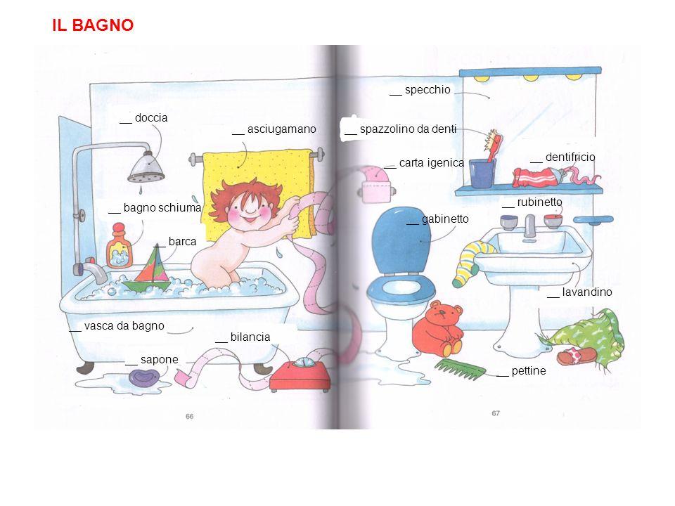 IL BAGNO __ doccia __ asciugamano __ bagno schiuma __ barca __ vasca da bagno __ sapone __ bilancia __ spazzolino da denti __ specchio __ dentifricio