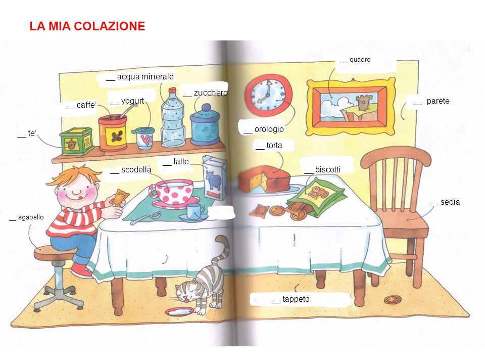 LA MIA COLAZIONE __ acqua minerale __ caffe __ te __ sgabello __ scodella __ latte __ yogurt __ zucchero __ orologio __ quadro __ parete __ sedia __ t