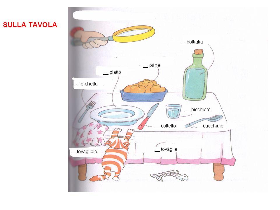 SULLA TAVOLA __ piatto __ pane __ bottiglia __ bicchiere __ cucchiaio__ coltello __ forchetta __ tovaglia __ tovagliolo
