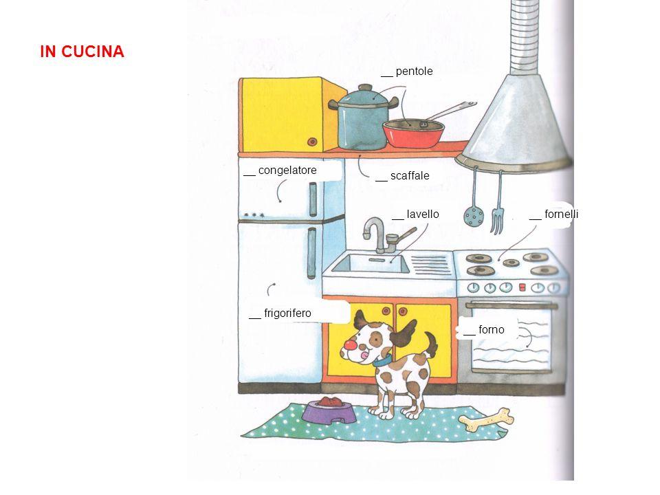 IN CUCINA le pentole il congelatore lo scaffale il frigorifero il lavelloi fornelli il forno