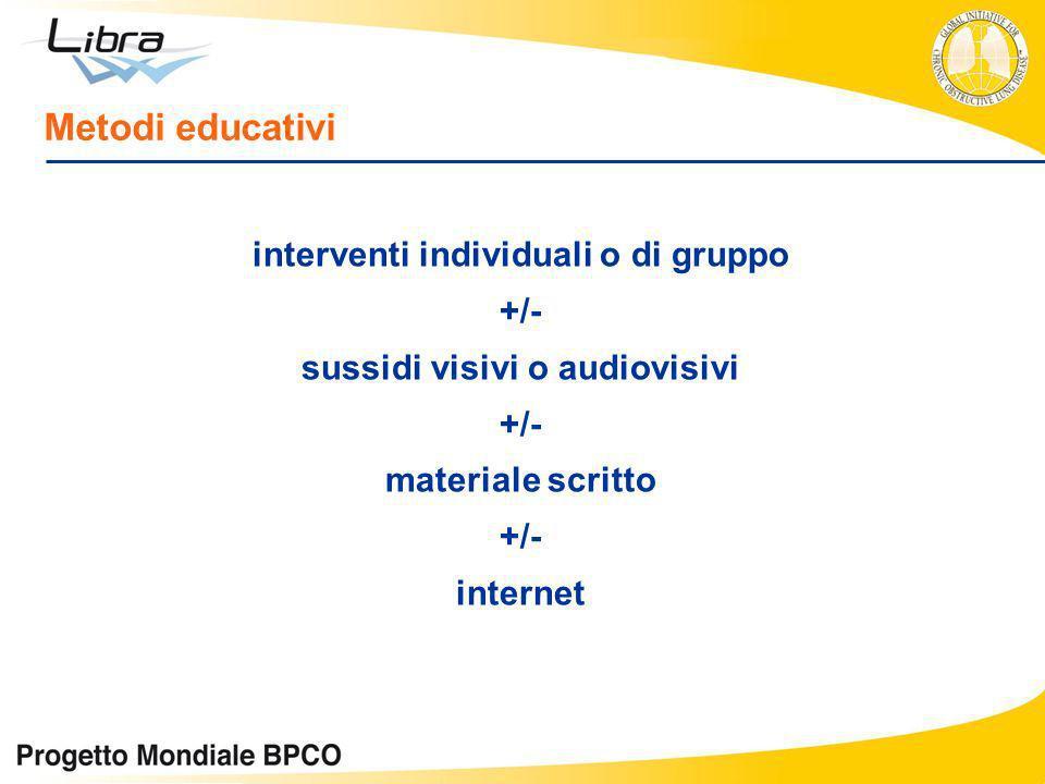 interventi individuali o di gruppo +/- sussidi visivi o audiovisivi +/- materiale scritto +/- internet Metodi educativi