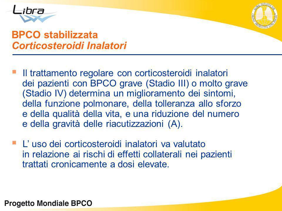 Il trattamento regolare con corticosteroidi inalatori dei pazienti con BPCO grave (Stadio III) o molto grave (Stadio IV) determina un miglioramento de