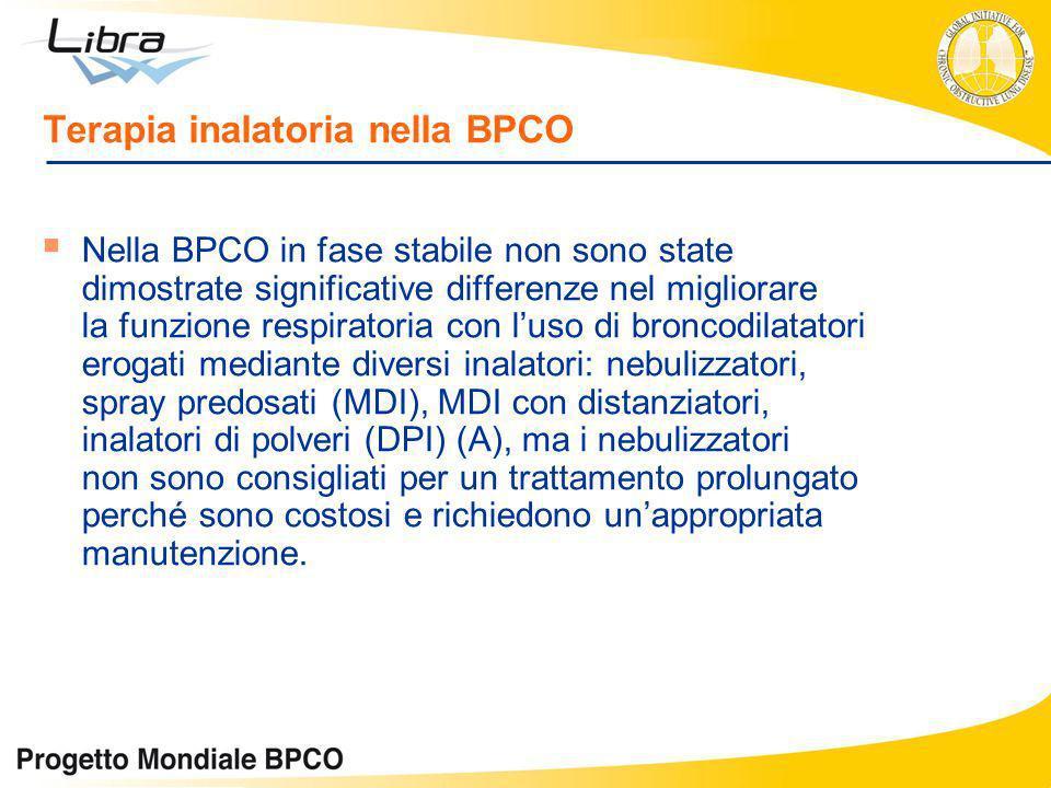 Terapia inalatoria nella BPCO Nella BPCO in fase stabile non sono state dimostrate significative differenze nel migliorare la funzione respiratoria co
