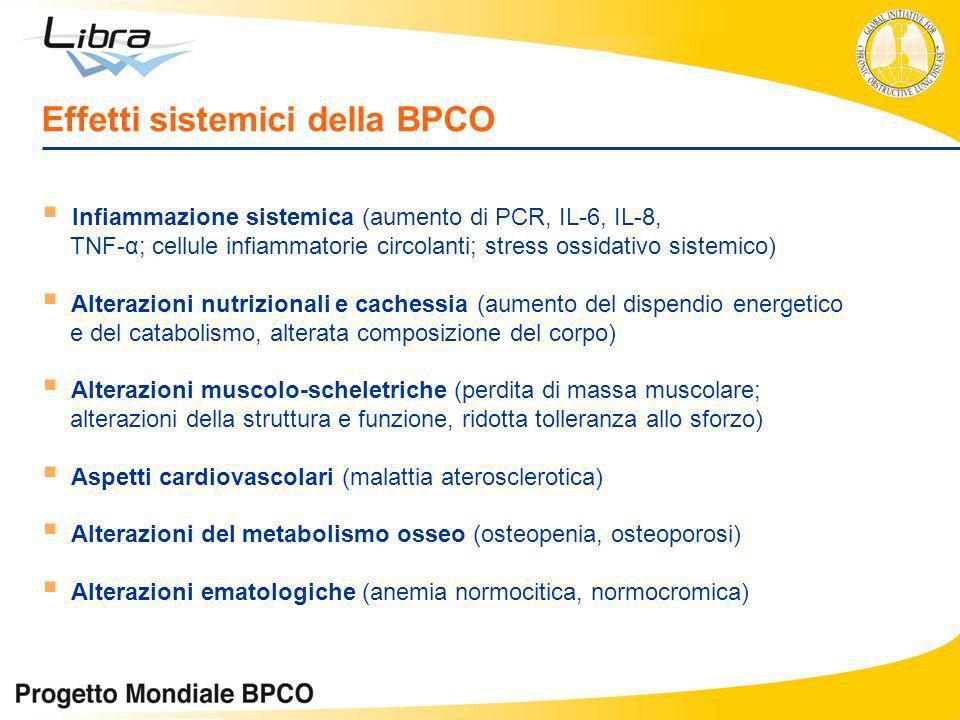 Effetti sistemici della BPCO Infiammazione sistemica (aumento di PCR, IL-6, IL-8, TNF-α; cellule infiammatorie circolanti; stress ossidativo sistemico