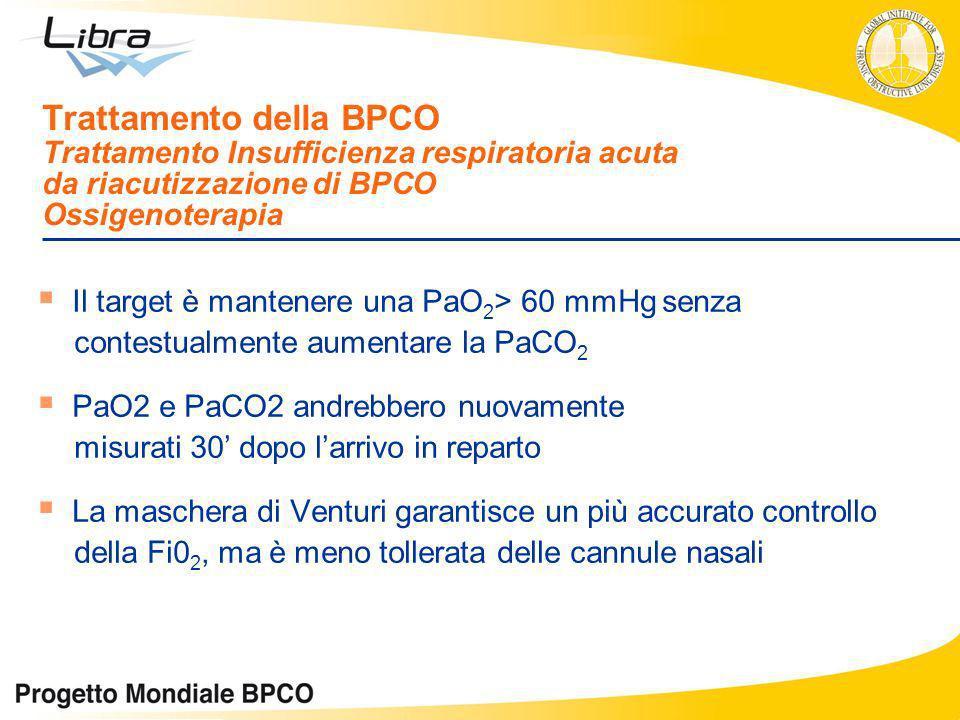 Trattamento della BPCO Trattamento Insufficienza respiratoria acuta da riacutizzazione di BPCO Ossigenoterapia Il target è mantenere una PaO 2 > 60 mm