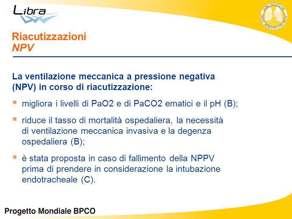 La ventilazione meccanica a pressione negativa (NPV) in corso di riacutizzazione: migliora i livelli di PaO2 e di PaCO2 ematici e il pH (B); riduce il