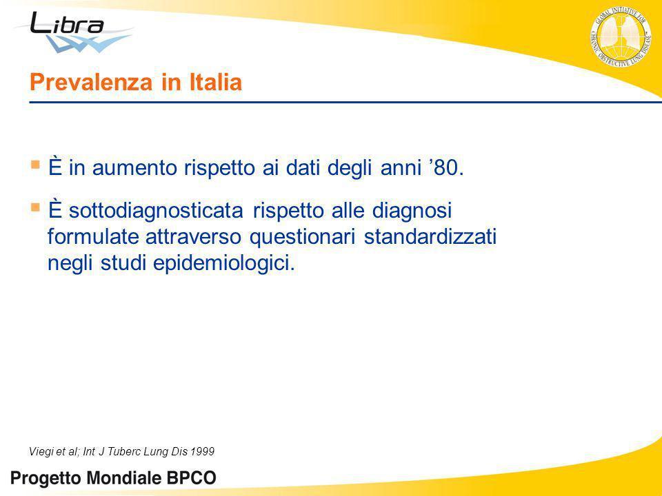 Prevalenza in Italia È in aumento rispetto ai dati degli anni 80. È sottodiagnosticata rispetto alle diagnosi formulate attraverso questionari standar