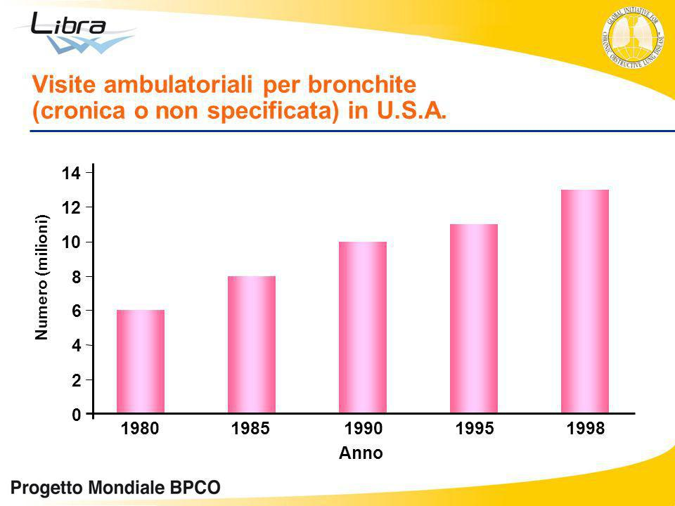 0 2 4 6 8 10 12 14 19801985199019951998 Anno Numero (milioni) Visite ambulatoriali per bronchite (cronica o non specificata) in U.S.A.