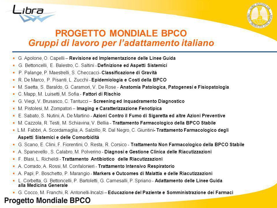 G. Apolone, O. Capelli – Revisione ed Implementazione delle Linee Guida G. Bettoncelli, E. Balestro, C. Saltini - Definizione ed Aspetti Sistemici P.