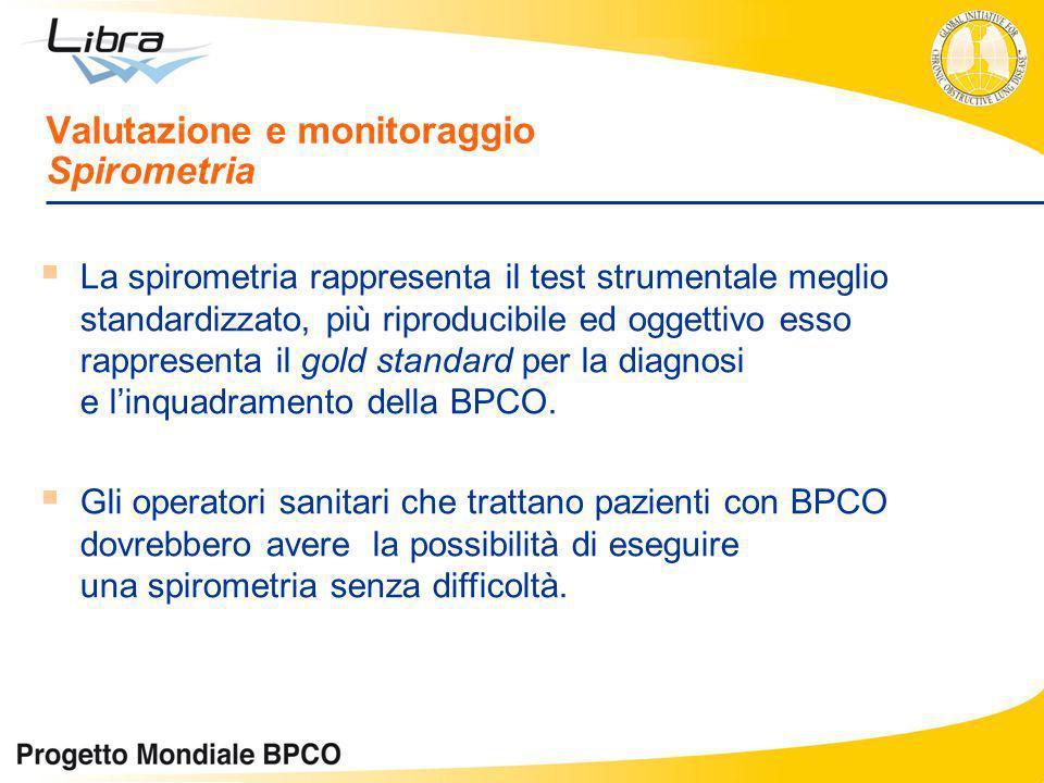 La spirometria rappresenta il test strumentale meglio standardizzato, più riproducibile ed oggettivo esso rappresenta il gold standard per la diagnosi