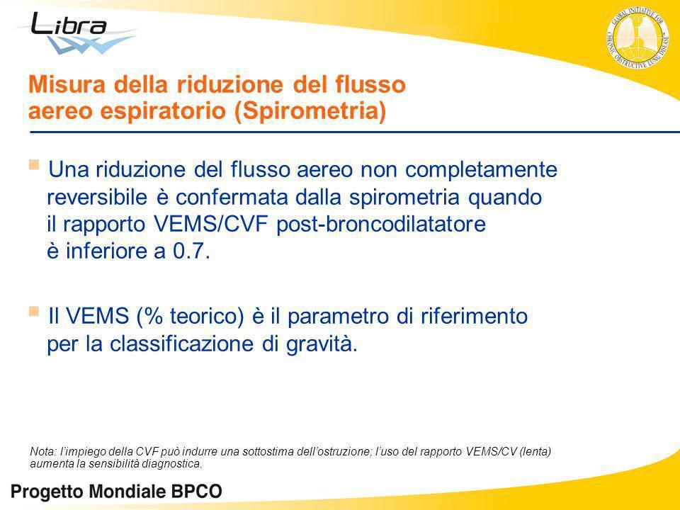 Una riduzione del flusso aereo non completamente reversibile è confermata dalla spirometria quando il rapporto VEMS/CVF post-broncodilatatore è inferi