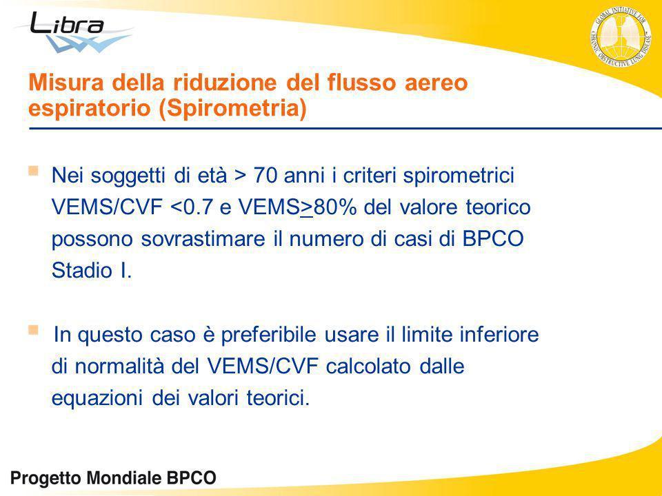 Misura della riduzione del flusso aereo espiratorio (Spirometria) Nei soggetti di età > 70 anni i criteri spirometrici VEMS/CVF 80% del valore teorico