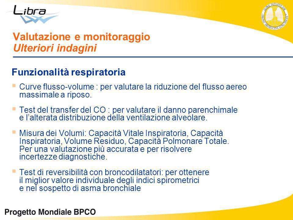 Valutazione e monitoraggio Ulteriori indagini Funzionalità respiratoria Curve flusso-volume : per valutare la riduzione del flusso aereo massimale a r