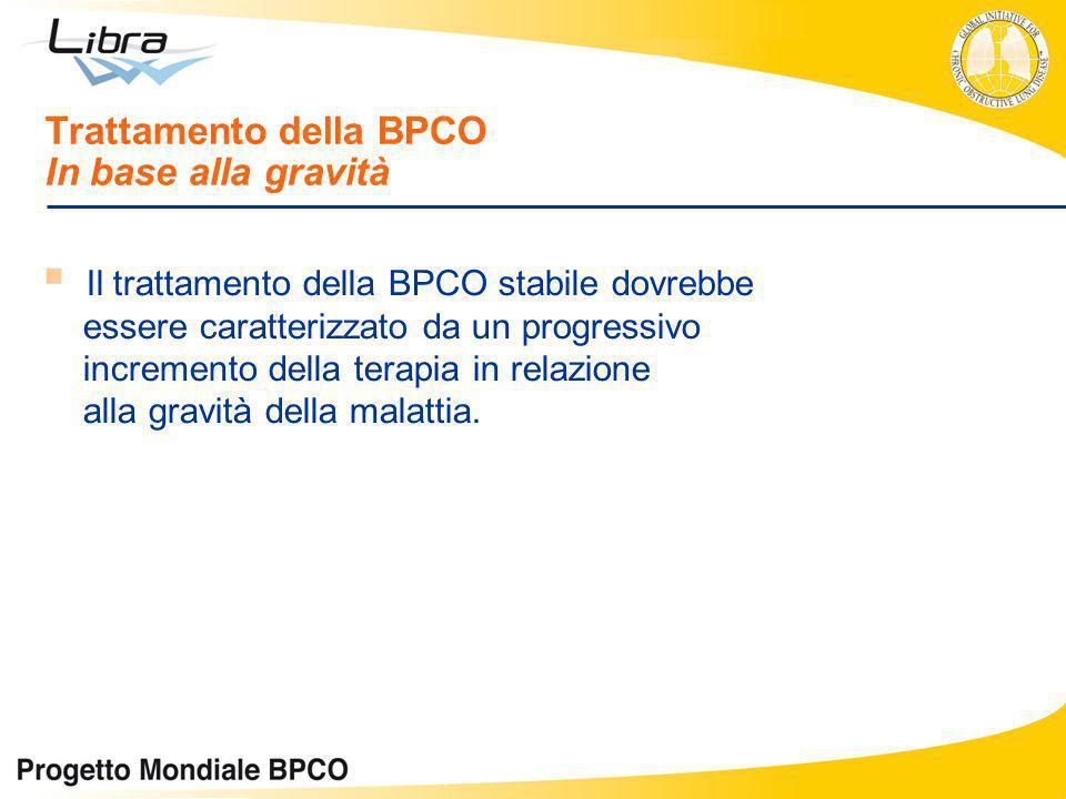 Trattamento della BPCO In base alla gravità Il trattamento della BPCO stabile dovrebbe essere caratterizzato da un progressivo incremento della terapi