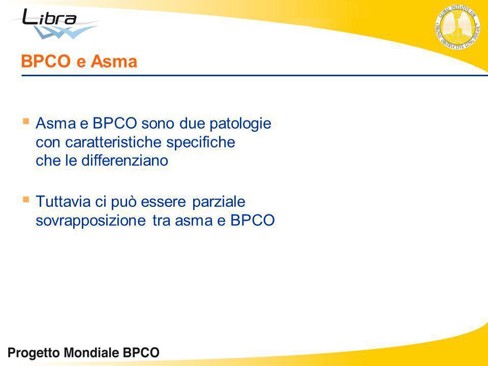 Asma e BPCO sono due patologie con caratteristiche specifiche che le differenziano Tuttavia ci può essere parziale sovrapposizione tra asma e BPCO BPC