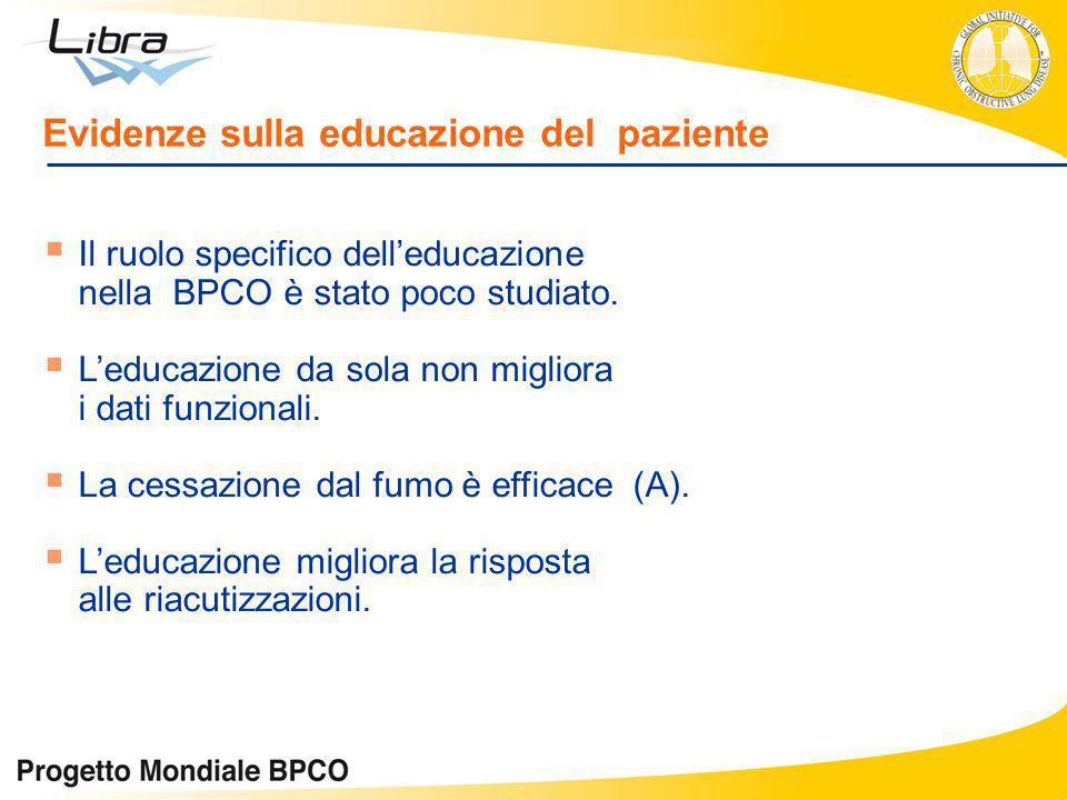 Il ruolo specifico delleducazione nella BPCO è stato poco studiato. Leducazione da sola non migliora i dati funzionali. La cessazione dal fumo è effic