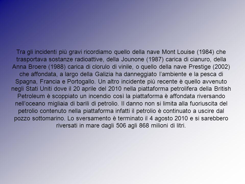 Tra gli incidenti più gravi ricordiamo quello della nave Mont Louise (1984) che trasportava sostanze radioattive, della Jounone (1987) carica di cianu