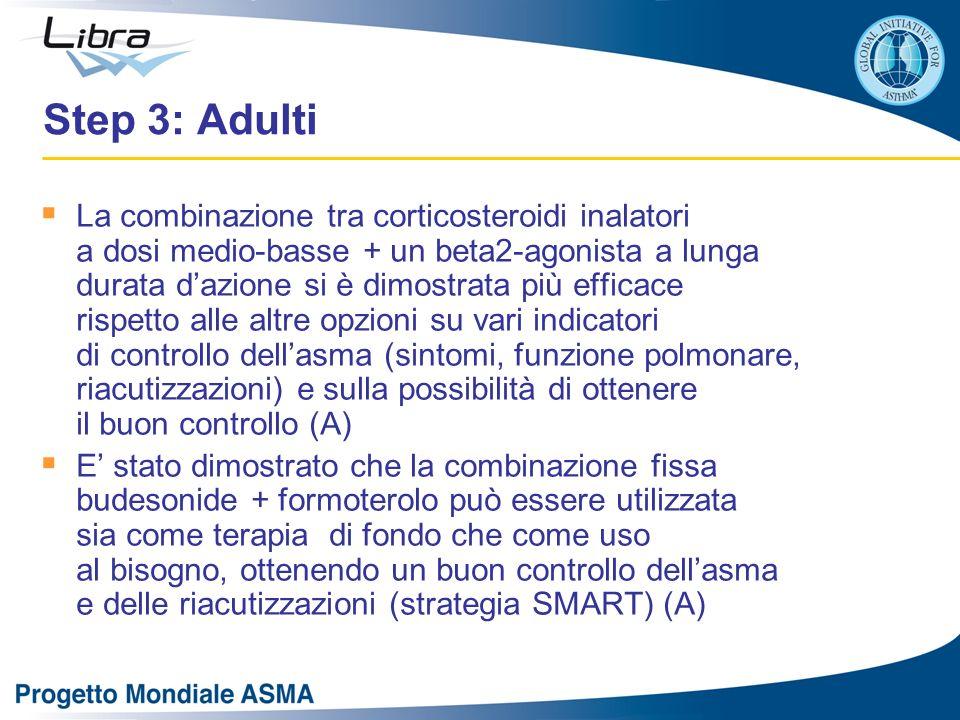 Step 3: Adulti La combinazione tra corticosteroidi inalatori a dosi medio-basse + un beta2-agonista a lunga durata dazione si è dimostrata più efficac