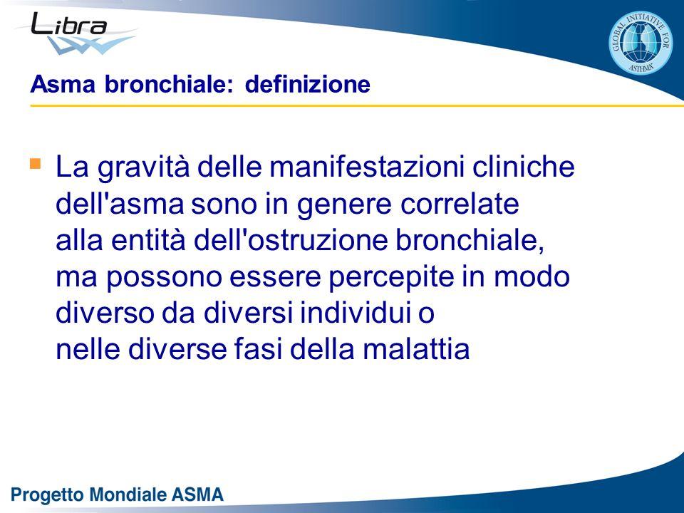 La gravità delle manifestazioni cliniche dell'asma sono in genere correlate alla entità dell'ostruzione bronchiale, ma possono essere percepite in mod