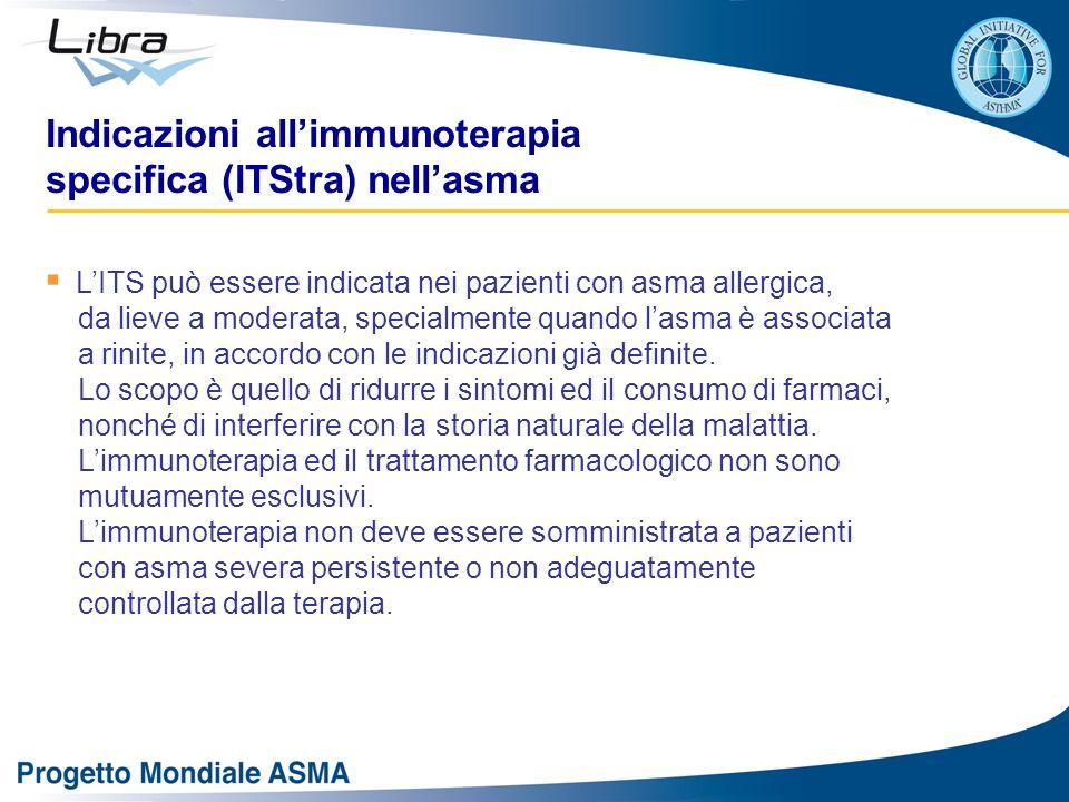 Indicazioni allimmunoterapia specifica (ITStra) nellasma LITS può essere indicata nei pazienti con asma allergica, da lieve a moderata, specialmente q