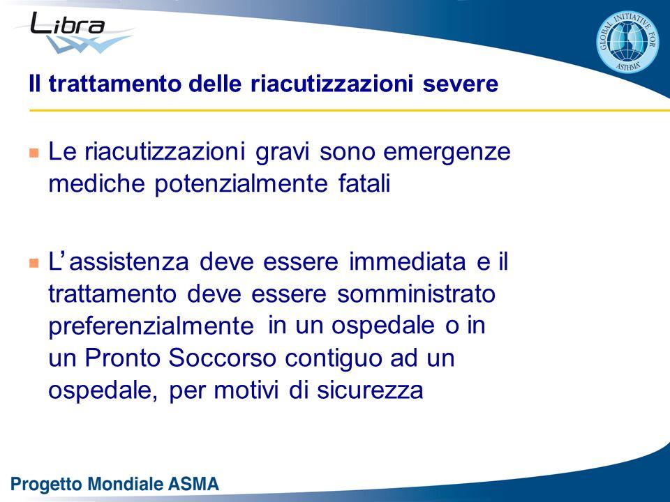 Il trattamento delle riacutizzazioni severe Le riacutizzazioni gravi sono emergenze mediche potenzialmente fatali L assistenza deve essere immediata e