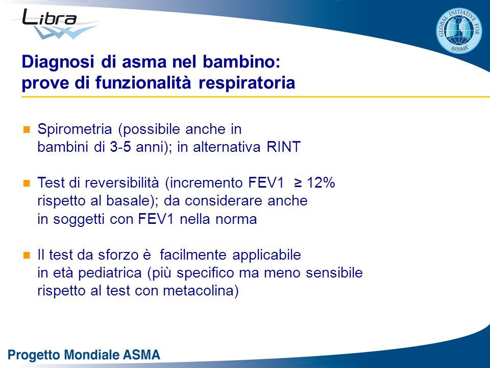 Diagnosi di asma nel bambino: prove di funzionalità respiratoria Spirometria (possibile anche in bambini di 3-5 anni); in alternativa RINT Test di rev