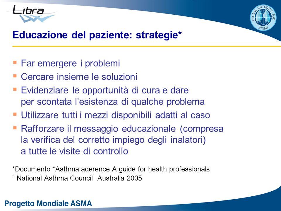 Educazione del paziente: strategie* Far emergere i problemi Cercare insieme le soluzioni Evidenziare le opportunità di cura e dare per scontata lesist