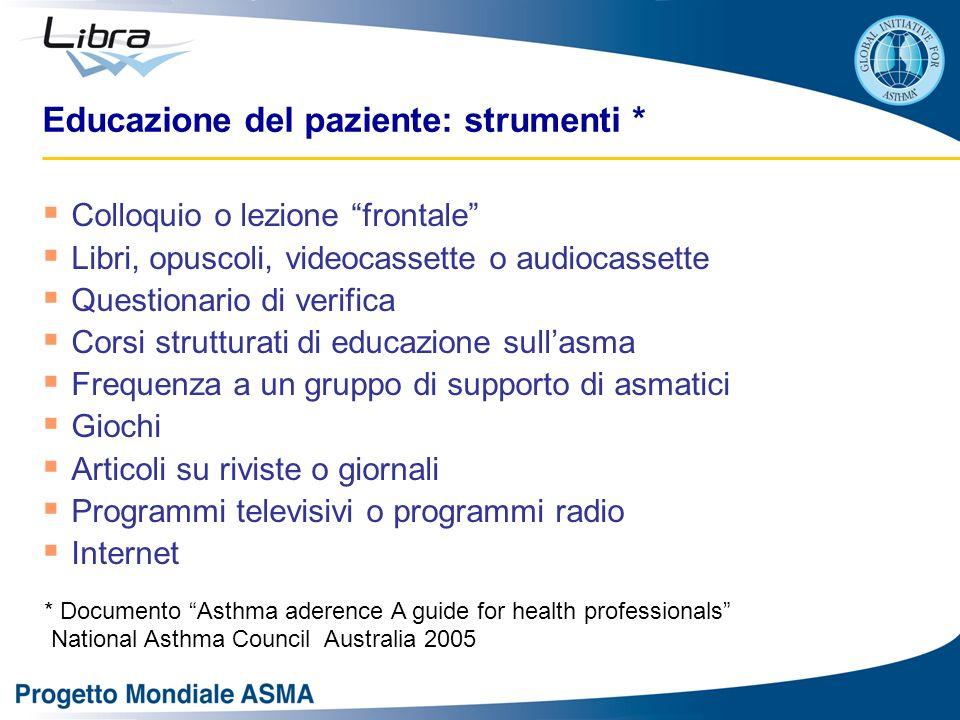 Educazione del paziente: strumenti * Colloquio o lezione frontale Libri, opuscoli, videocassette o audiocassette Questionario di verifica Corsi strutt