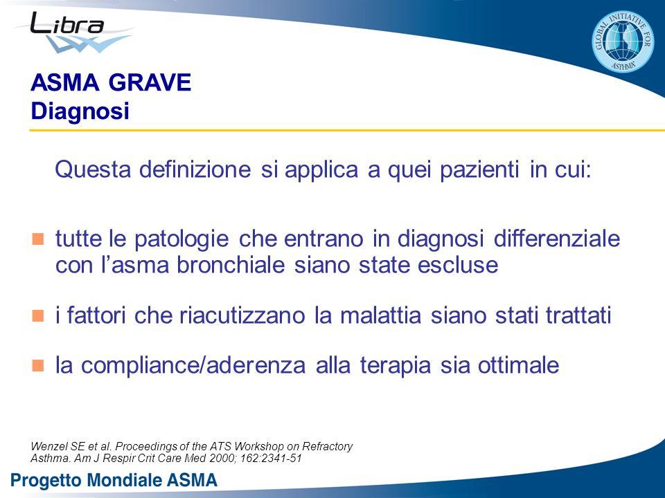 ASMA GRAVE Diagnosi Questa definizione si applica a quei pazienti in cui: tutte le patologie che entrano in diagnosi differenziale con lasma bronchial