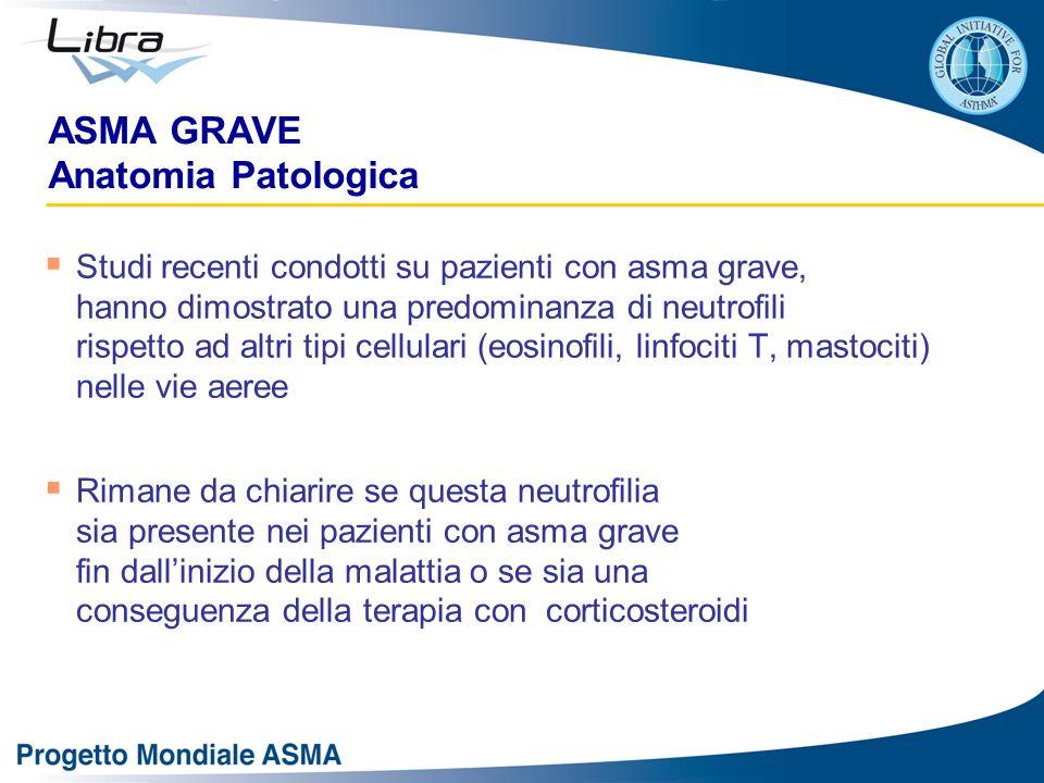 ASMA GRAVE Anatomia Patologica Studi recenti condotti su pazienti con asma grave, hanno dimostrato una predominanza di neutrofili rispetto ad altri ti