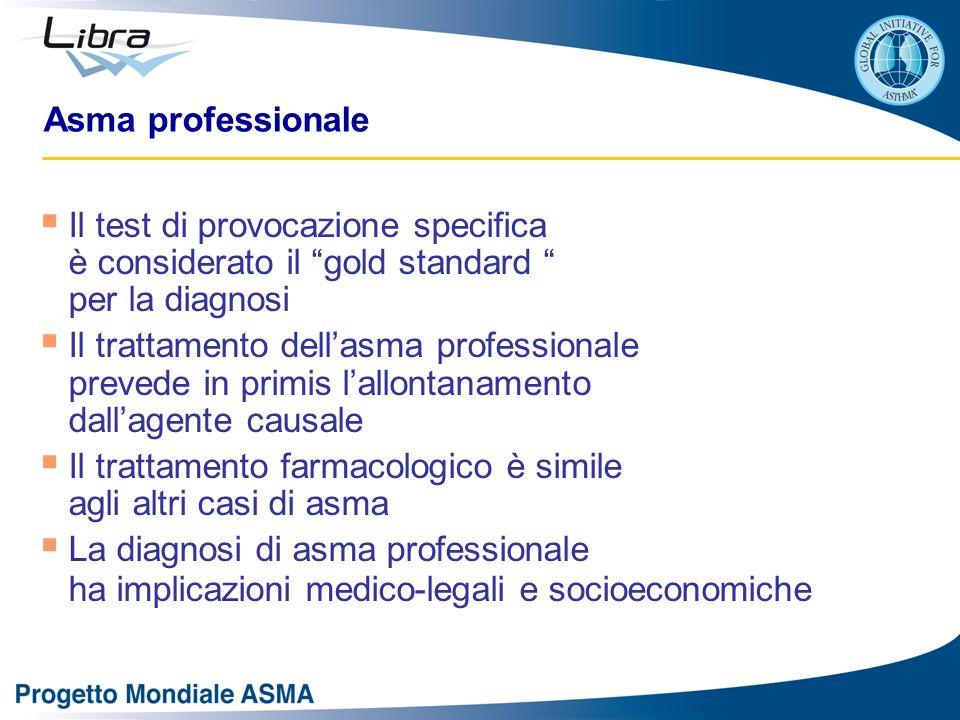 Asma professionale Il test di provocazione specifica è considerato il gold standard per la diagnosi Il trattamento dellasma professionale prevede in p