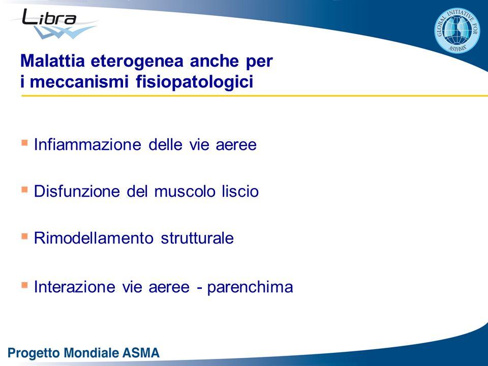 Malattia eterogenea anche per i meccanismi fisiopatologici Infiammazione delle vie aeree Disfunzione del muscolo liscio Rimodellamento strutturale Int