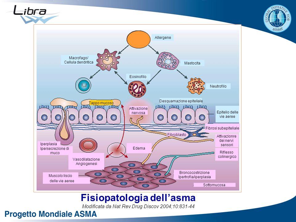 Fisiopatologia dellasma Modificata da Nat Rev Drug Discov 2004;10:831-44 Mastocita Allergene Neutrofilo Epitelio delle vie aeree Fibrosi subepiteliale