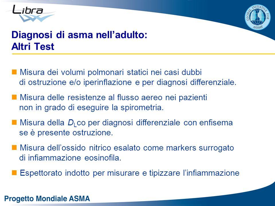 Diagnosi di asma nelladulto: Altri Test Misura dei volumi polmonari statici nei casi dubbi di ostruzione e/o iperinflazione e per diagnosi differenzia