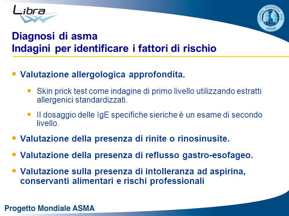 Diagnosi di asma Indagini per identificare i fattori di rischio Valutazione allergologica approfondita. Skin prick test come indagine di primo livello