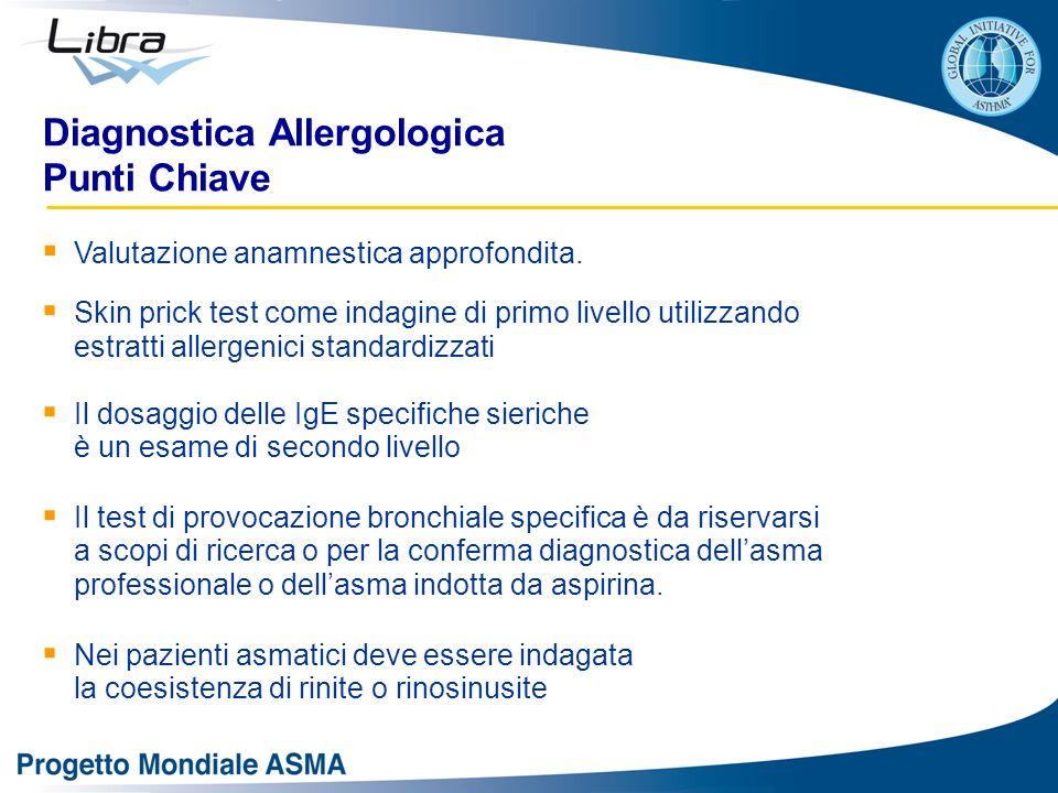 Diagnostica Allergologica Punti Chiave Valutazione anamnestica approfondita. Skin prick test come indagine di primo livello utilizzando estratti aller