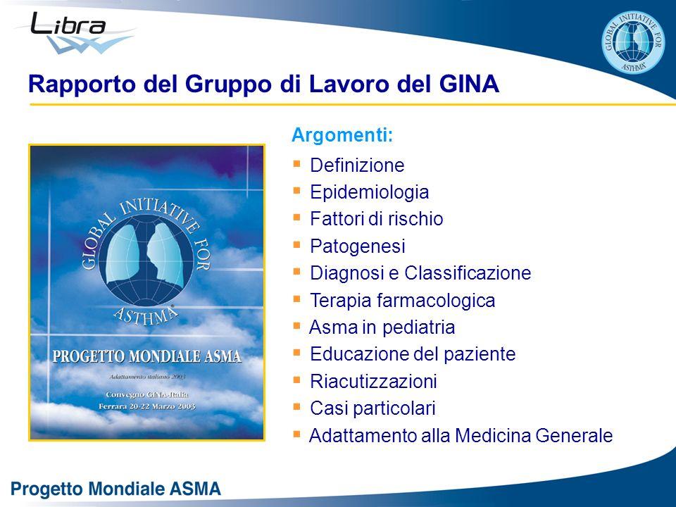 Argomenti: Definizione Epidemiologia Fattori di rischio Patogenesi Diagnosi e Classificazione Terapia farmacologica Asma in pediatria Educazione del p