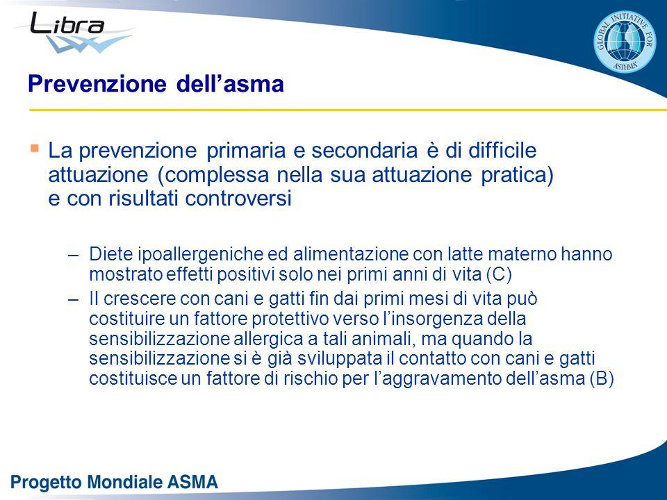 Prevenzione dellasma La prevenzione primaria e secondaria è di difficile attuazione (complessa nella sua attuazione pratica) e con risultati controver