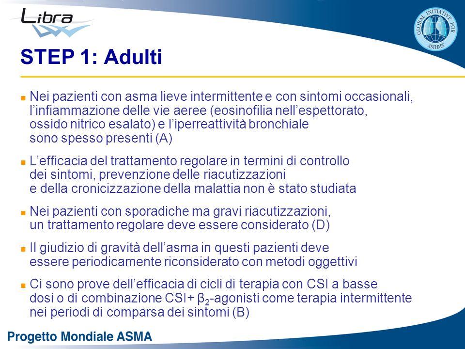 STEP 1: Adulti Nei pazienti con asma lieve intermittente e con sintomi occasionali, linfiammazione delle vie aeree (eosinofilia nellespettorato, ossid