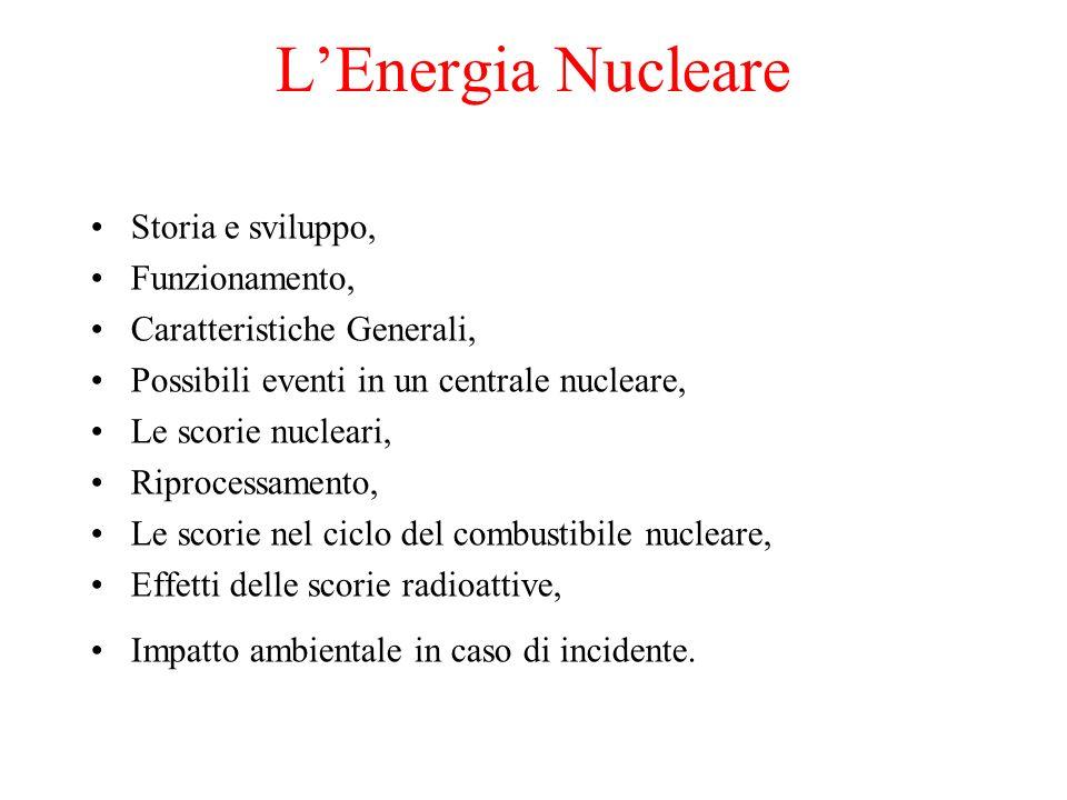 LEnergia Nucleare Storia e sviluppo, Funzionamento, Caratteristiche Generali, Possibili eventi in un centrale nucleare, Le scorie nucleari, Riprocessamento, Le scorie nel ciclo del combustibile nucleare, Effetti delle scorie radioattive, Impatto ambientale in caso di incidente.