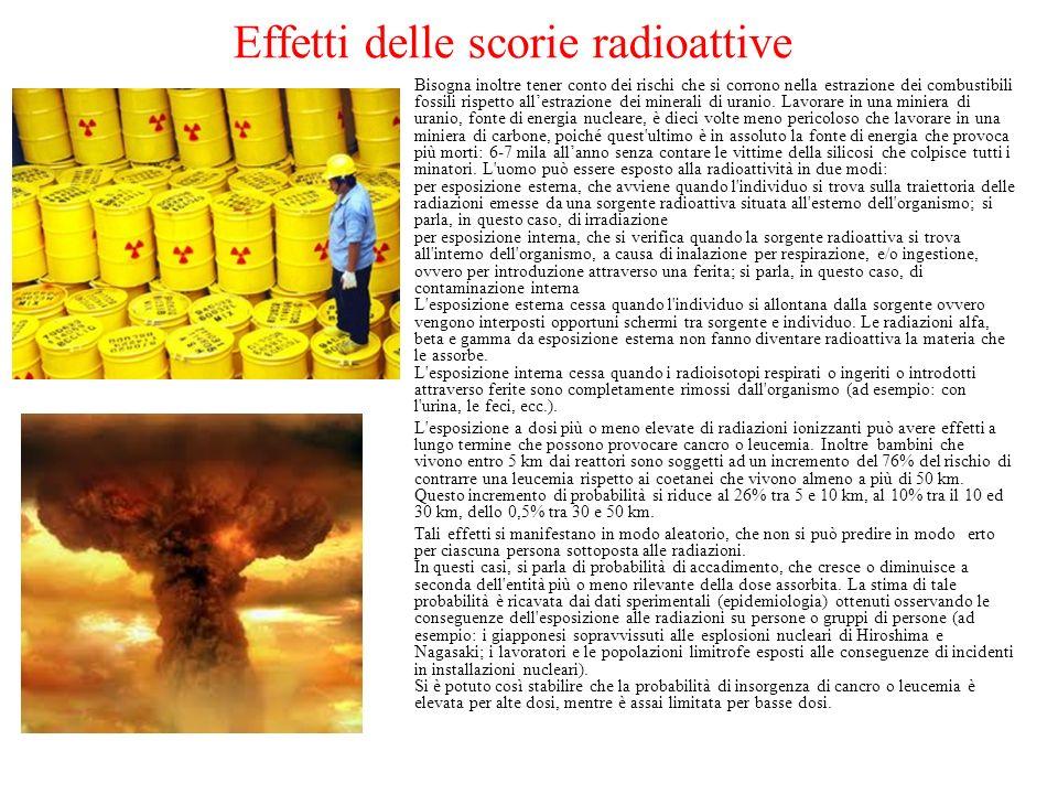 Effetti delle scorie radioattive Bisogna inoltre tener conto dei rischi che si corrono nella estrazione dei combustibili fossili rispetto allestrazione dei minerali di uranio.